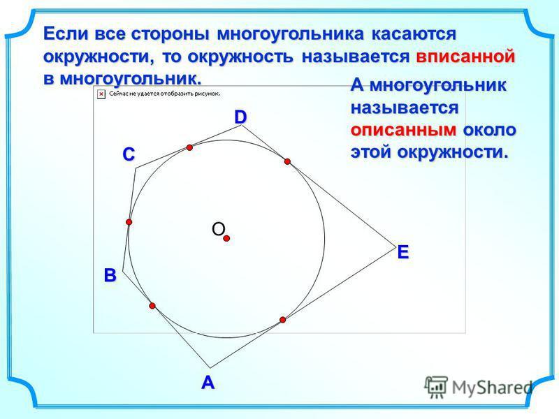 О D В С Если все стороны многоугольника касаются окружности, то окружность называется вписанной в многоугольник. А E А многоугольник называется описанным около этой окружности.