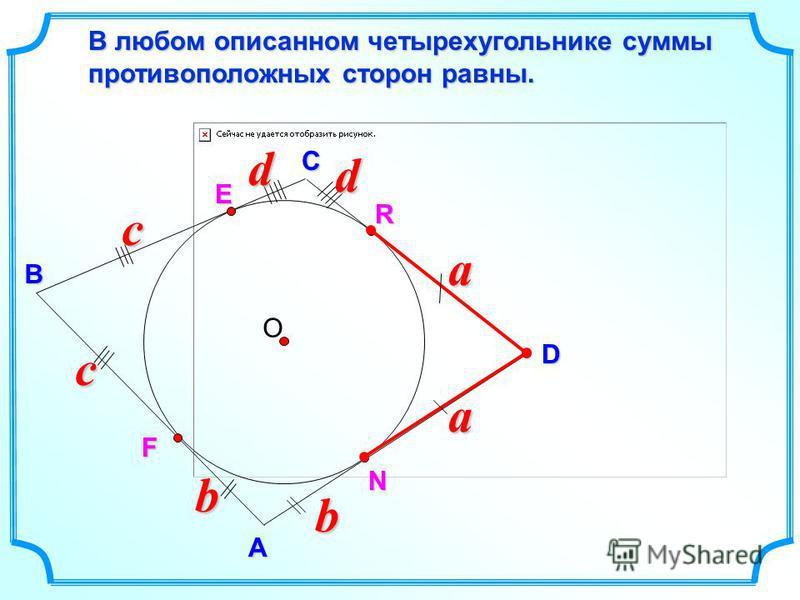 D В С В любом описанном четырехугольнике суммы противоположных сторон равны. А E О aa R N Fbb cc dd