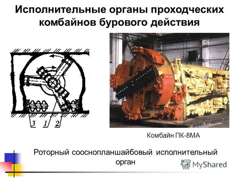 Исполнительные органы проходческих комбайнов бурового действия Роторный сооснопланшайбовый исполнительный орган Комбайн ПК-8МА
