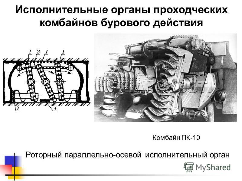 Исполнительные органы проходческих комбайнов бурового действия Роторный параллельно-осевой исполнительный орган Комбайн ПК-10