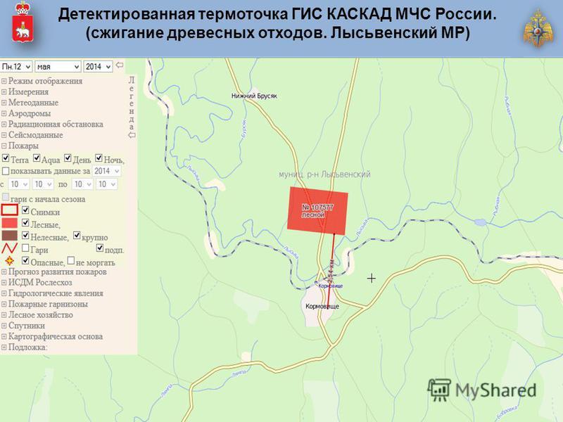 Детектированная термо точка ГИС КАСКАД МЧС России. (сжигание древесных отходов. Лысьвенский МР)