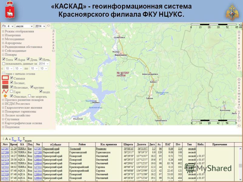 «КАСКАД» - геоинформационная система Красноярского филиала ФКУ НЦУКС.
