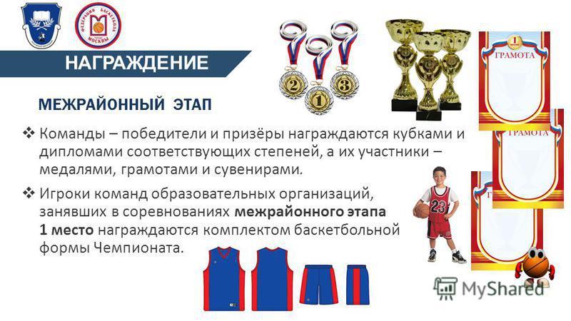 МЕЖРАЙОННЫЙ ЭТАП Команды – победители и призёры награждаются кубками и дипломами соответствующих степеней, а их участники – медалями, грамотами и сувенирами. Игроки команд образовательных организаций, занявших в соревнованиях межрайонного этапа 1 мес
