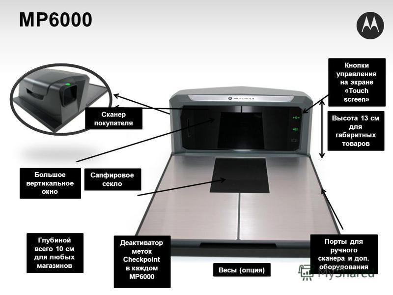 Сканер покупателя Сапфировое секло Порты для ручного сканера и доп. оборудования Высота 13 см для габаритных товаров Глубиной всего 10 см для любых магазинов Кнопки управления на экране «Touch screen» Большое вертикальное окно МP6000 Деактиватор мето