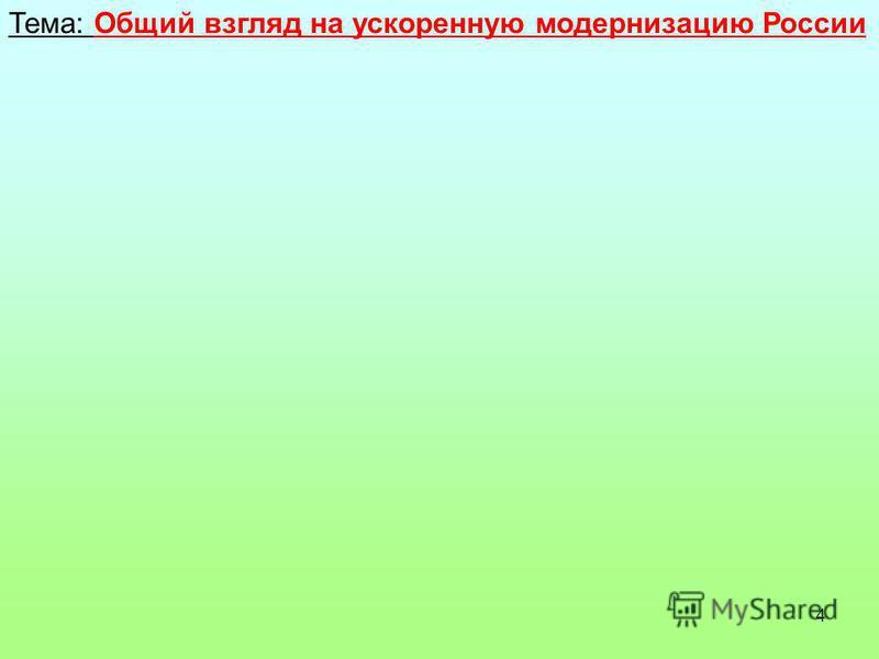 4 Тема: Общий взгляд на ускоренную модернизацию России