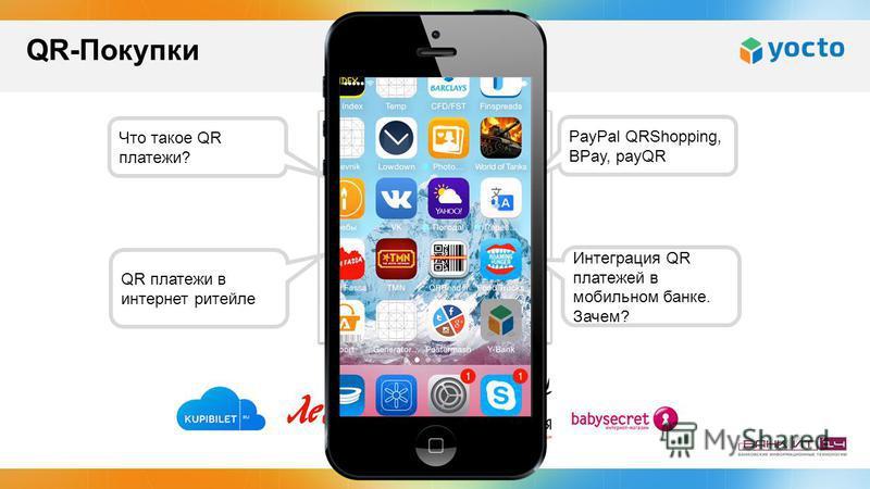 Что такое QR платежи? PayPal QRShopping, BPay, payQR QR платежи в интернет ритейле Интеграция QR платежей в мобильном банке. Зачем? QR-Покупки