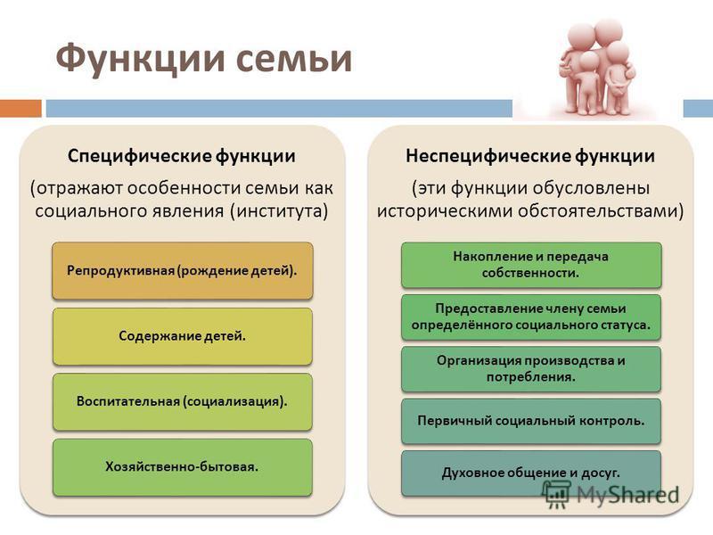 Функции семьи Специфические функции ( отражают особенности семьи как социального явления ( института ) Репродуктивная ( рождение детей ). Содержание детей. Воспитательная ( социализация ). Хозяйственно - бытовая. Неспецифические функции ( эти функции