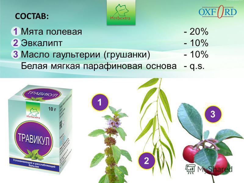 123 СОСТАВ: 1 Мята полевая- 20% 2 Эвкалипт- 10% 3 Масло гаультерии (грушанки)- 10% Белая мягкая парафиновая основа- q.s.