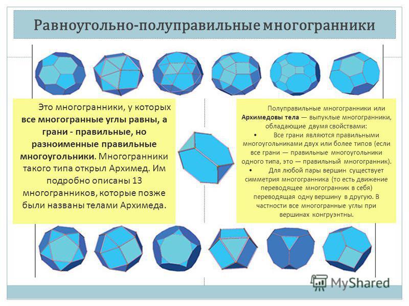 Равноугольно-полуправильные многогранники Это многогранники, у которых все многогранные углы равны, а грани - правильные, но разноименные правильные многоугольники. Многогранники такого типа открыл Архимед. Им подробно описаны 13 многогранников, кото