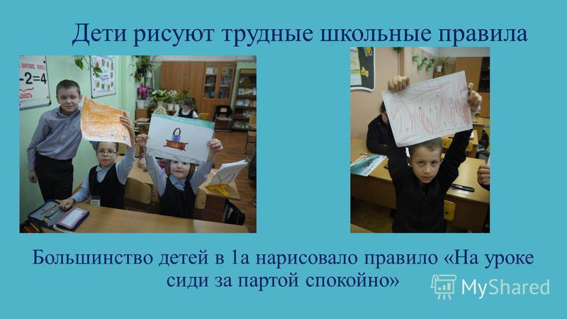 Дети рисуют трудные школьные правила Большинство детей в 1 а нарисовало правило «На уроке сиди за партой спокойно»