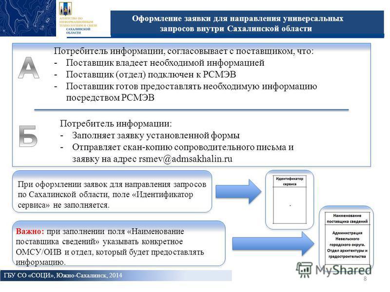 8 Оформление заявки для направления универсальных запросов внутри Сахалинской области ГБУ СО «СОЦИ», Южно-Сахалинск, 2014 8 2009 год Потребитель информации, согласовывает с поставщиком, что: -Поставщик владеет необходимой информацией -Поставщик (отде