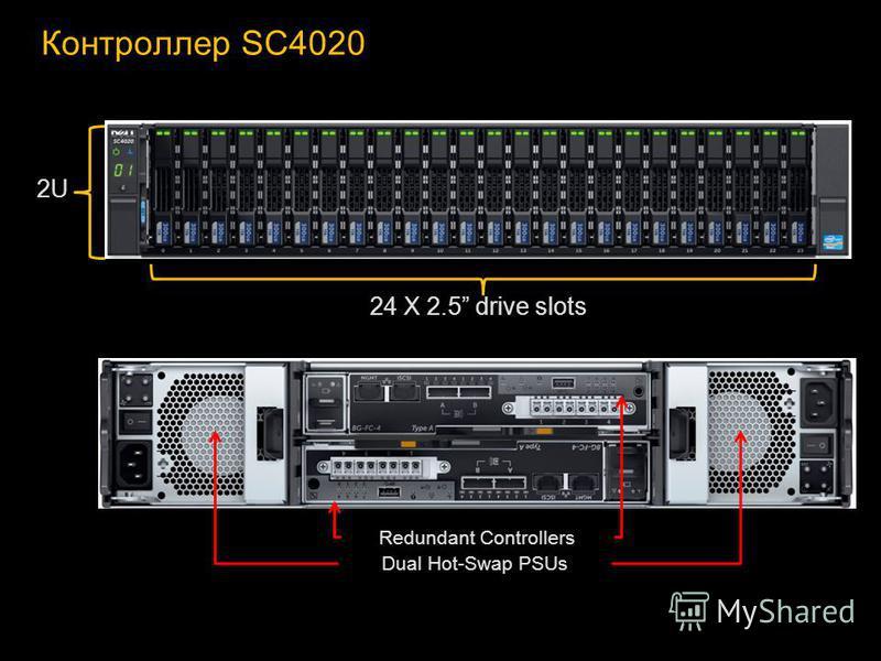 Контроллер SC4020 Redundant Controllers Dual Hot-Swap PSUs 2U 24 X 2.5 drive slots