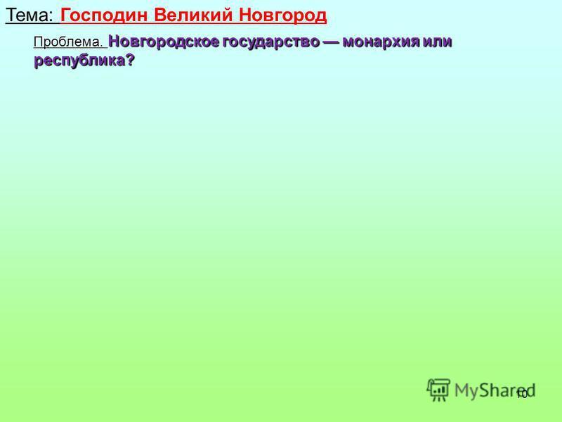 10 Тема: Господин Великий Новгород Проблема. Новгородское государство монархия или республика?