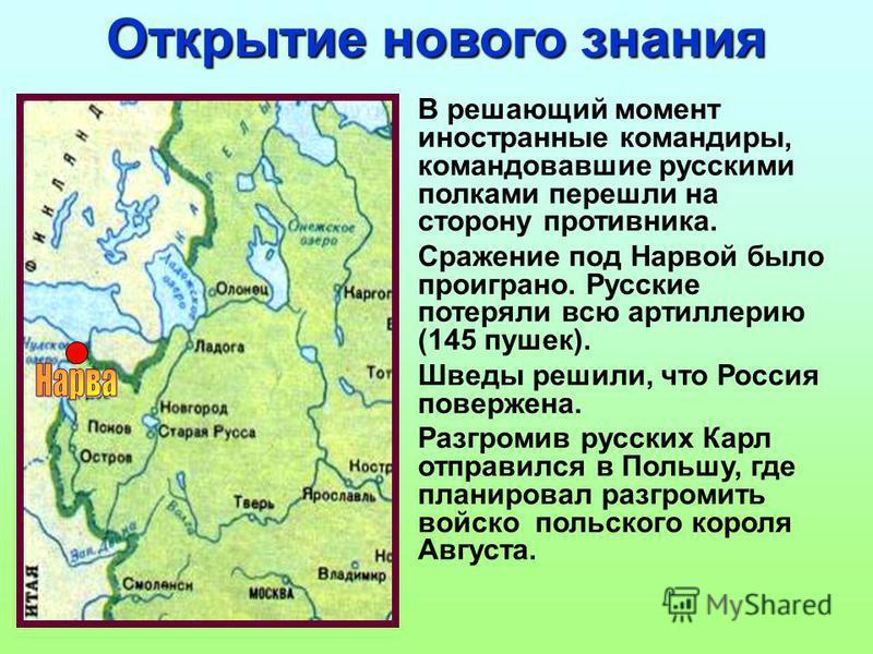 Открытие нового знания В решающий момент иностранные командиры, командовавшие русскими полками перешли на сторону противника. Сражение под Нарвой было проиграно. Русские потеряли всю артиллерию (145 пушек). Шведы решили, что Россия повержена. Разгром