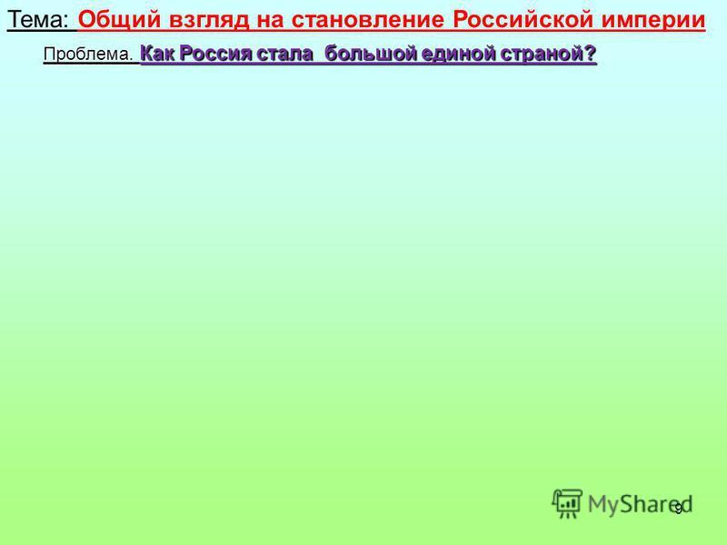 9 Тема: Общий взгляд на становление Российской империи Проблема. Как Россия стала большой единой страной?
