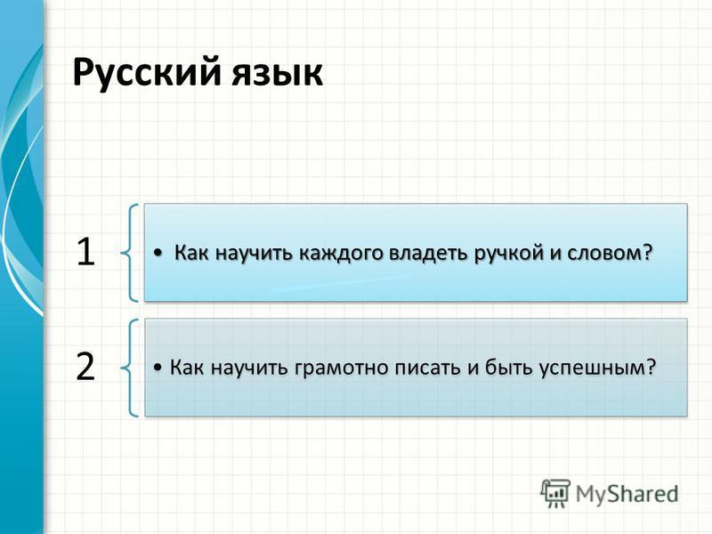 Русский язык 1 Как научить каждого владеть ручкой и словом?Как научить каждого владеть ручкой и словом? 2 Как научить грамотно писать и быть успешным?
