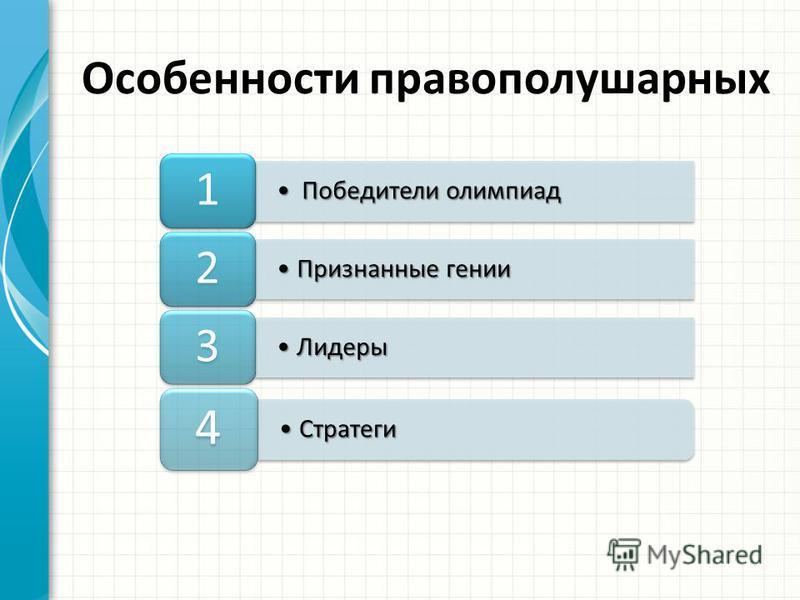 Победители олимпиад Победители олимпиад 1 Признанные гении Признанные гении 2 Лидеры Лидеры 3 Стратеги Стратеги 4