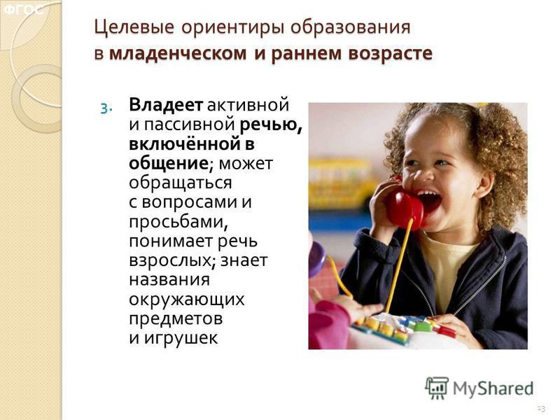 Целевые ориентиры образования в младенческом и раннем возрасте 3. Владеет активной и пассивной речью, включённой в общение ; может обращаться с вопросами и просьбами, понимает речь взрослых ; знает названия окружающих предметов и игрушек 13 ФГОС