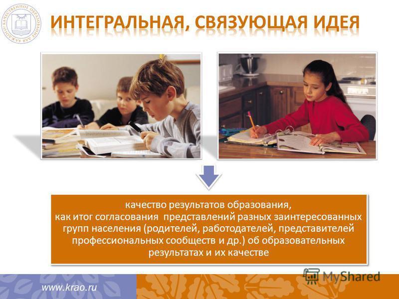 качество результатов образования, как итог согласования представлений разных заинтересованных групп населения (родителей, работодателей, представителей профессиональных сообществ и др.) об образовательных результатах и их качестве