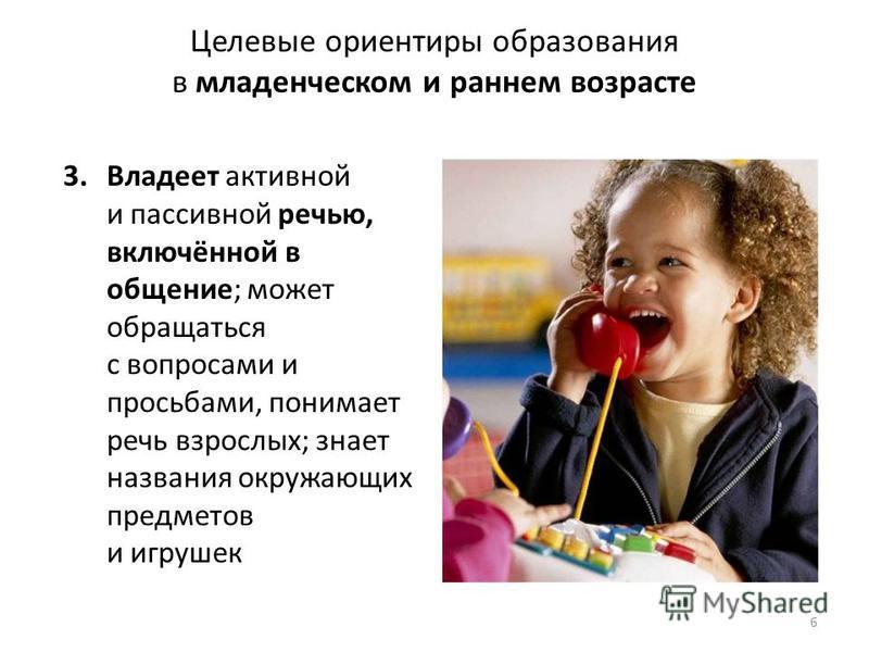 Целевые ориентиры образования в младенческом и раннем возрасте 3. Владеет активной и пассивной речью, включённой в общение; может обращаться с вопросами и просьбами, понимает речь взрослых; знает названия окружающих предметов и игрушек 6 ФГОС