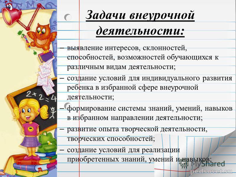 Задачи внеурочной деятельности: – выявление интересов, склонностей, способностей, возможностей обучающихся к различным видам деятельности; – создание условий для индивидуального развития ребенка в избранной сфере внеурочной деятельности; – формирован