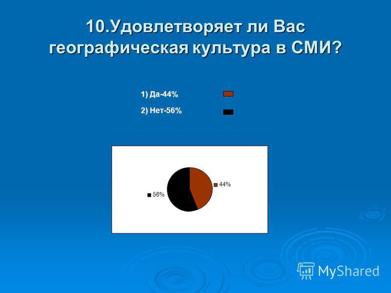 10. Удовлетворяет ли Вас географическая культура в СМИ? 1) Да-44% 2) Нет-56% 44% 56%