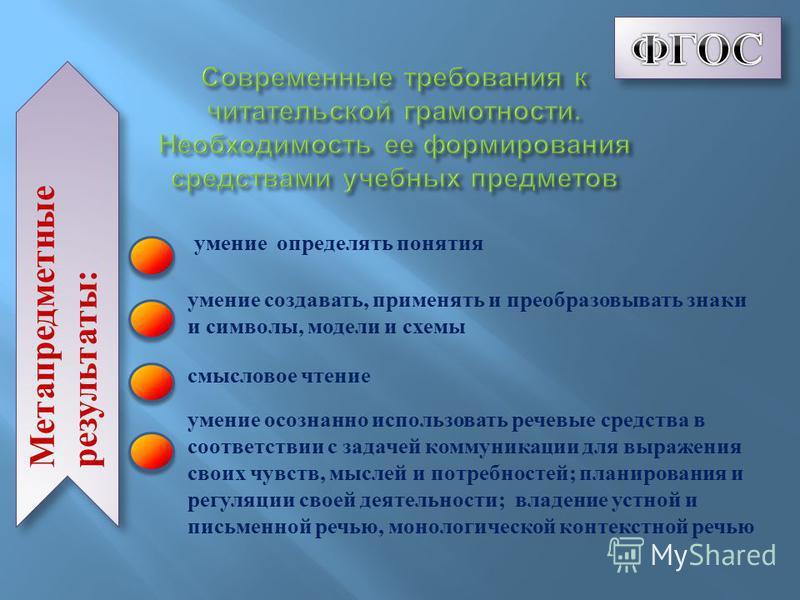 Метапредметные результаты: умение определять понятия умение создавать, применять и преобразовывать знаки и символы, модели и схемы смысловое чтение умение осознанно использовать речевые средства в соответствии с задачей коммуникации для выражения сво
