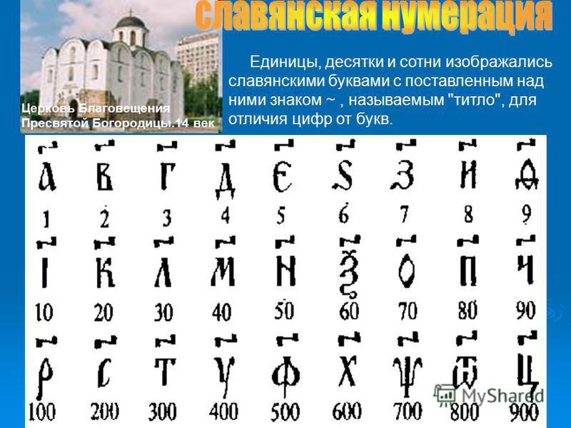Единицы, десятки и сотни изображались славянскими буквами с поставленным над ними знаком ~, называемым титло, для отличия цифр от букв. Церковь Благовещения Пресвятой Богородицы.14 век