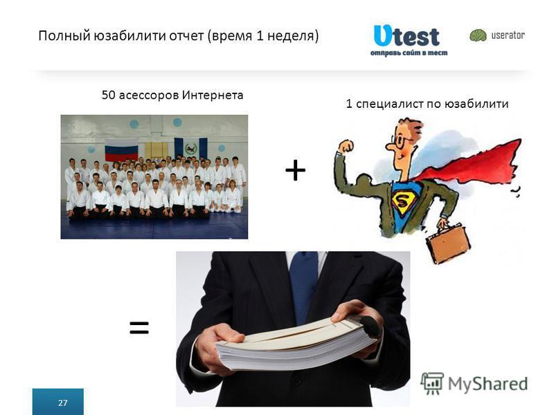 Полный юзабилити отчет (время 1 неделя) 27 50 асессоров Интернета + = 1 специалист по юзабилити