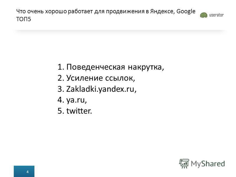 Что очень хорошо работает для продвижения в Яндексе, Google ТОП5 4 1. Поведенческая накрутка, 2. Усиление ссылок, 3.Zakladki.yandex.ru, 4.ya.ru, 5.twitter.
