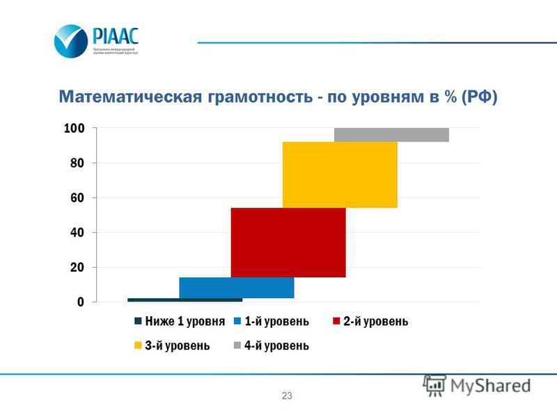 23 Математическая грамотность - по уровням в % (РФ)