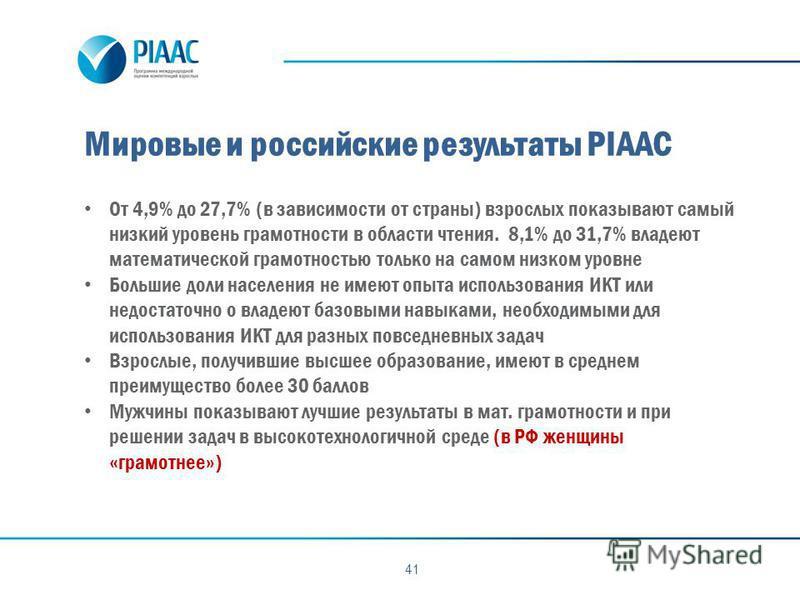 Мировые и российские результаты PIAAC 41 От 4,9% до 27,7% (в зависимости от страны) взрослых показывают самый низкий уровень грамотности в области чтения. 8,1% до 31,7% владеют математической грамотностью только на самом низком уровне Большие доли на