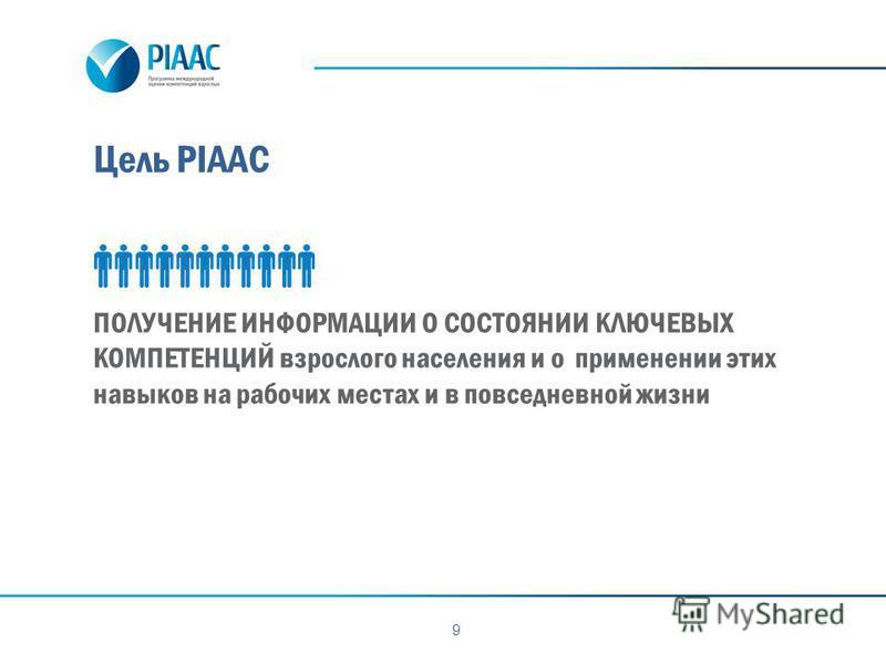 Цель PIAAC 9 ПОЛУЧЕНИЕ ИНФОРМАЦИИ О СОСТОЯНИИ КЛЮЧЕВЫХ КОМПЕТЕНЦИЙ взрослого населения и о применении этих навыков на рабочих местах и в повседневной жизни