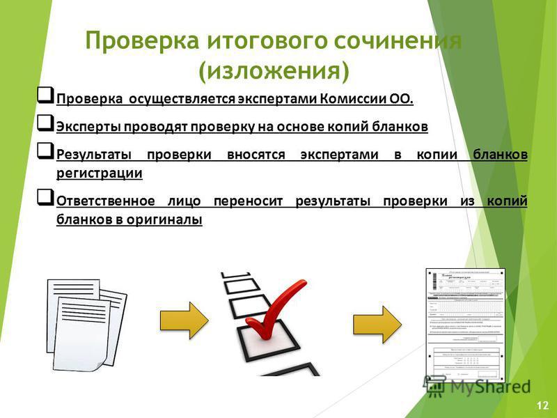 12 Проверка итогового сочинения (изложения) Проверка осуществляется экспертами Комиссии ОО. Эксперты проводят проверку на основе копий бланков Результаты проверки вносятся экспертами в копии бланков регистрации Ответственное лицо переносит результаты
