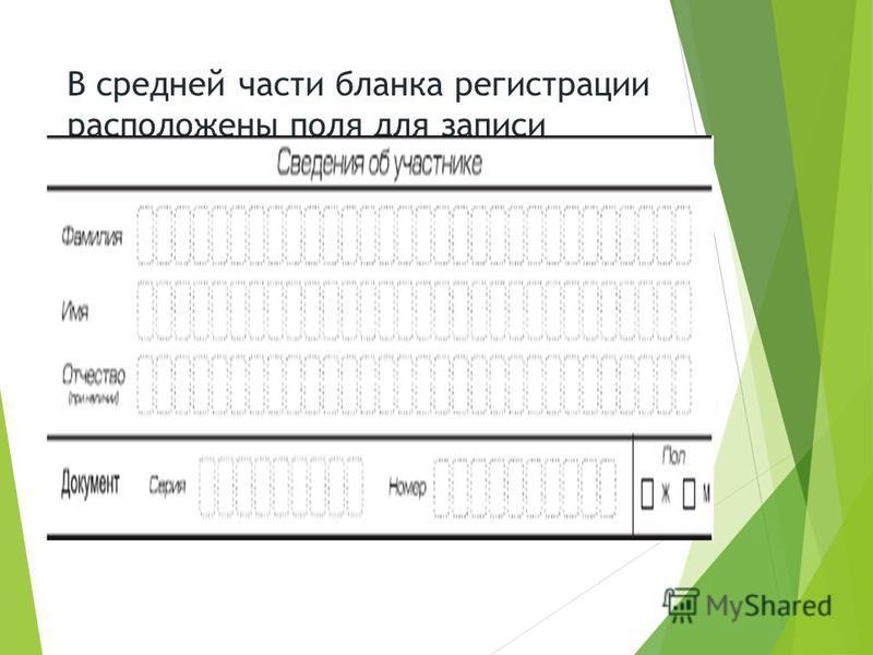 В средней части бланка регистрации расположены поля для записи сведений об участнике.