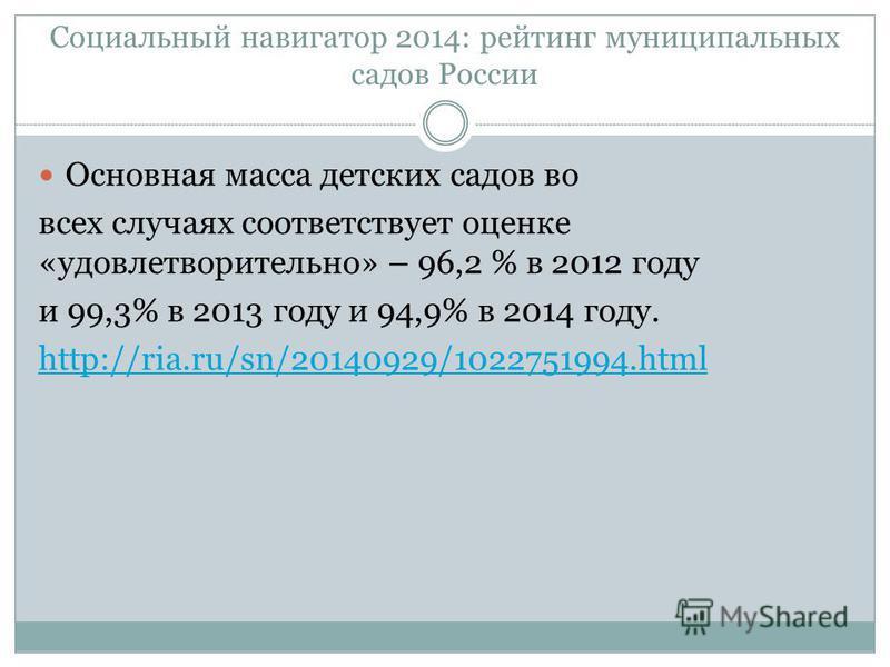 Социальный навигатор 2014: рейтинг муниципальных садов России Основная масса детских садов во всех случаях соответствует оценке «удовлетворительно» – 96,2 % в 2012 году и 99,3% в 2013 году и 94,9% в 2014 году. http://ria.ru/sn/20140929/1022751994.htm