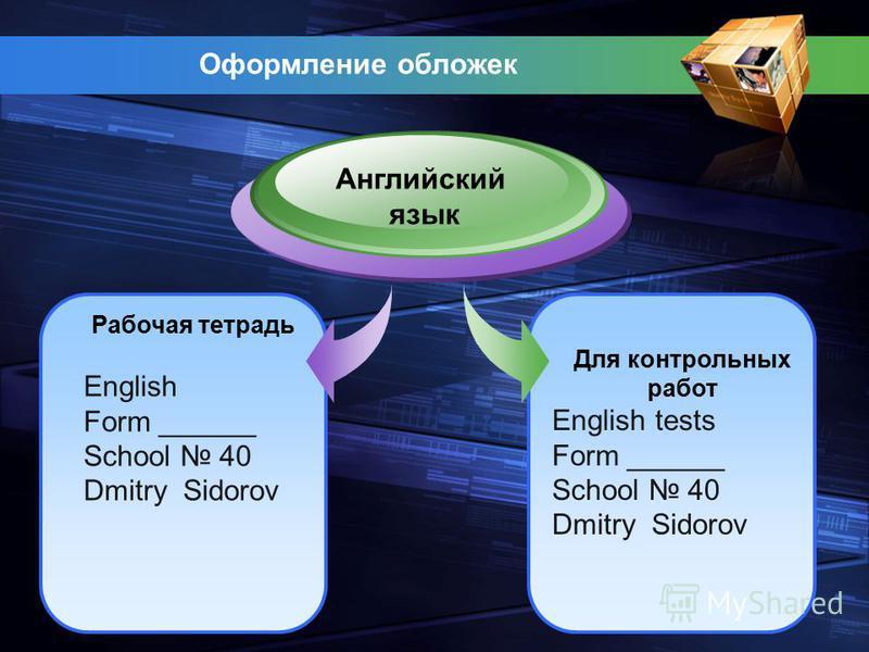 Оформление обложек Рабочая тетрадь English Form ______ School 40 Dmitry Sidorov Английский язык Для контрольных работ English tests Form ______ School 40 Dmitry Sidorov