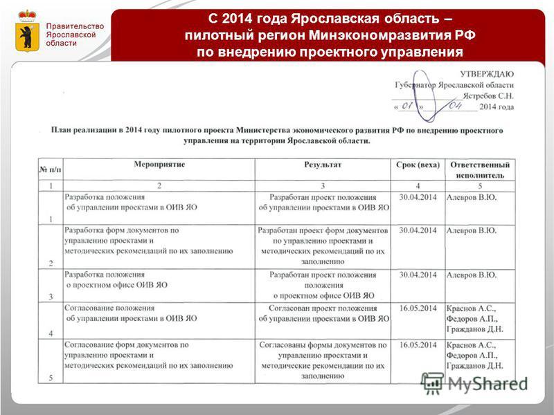 С 2014 года Ярославская область – пилотный регион Минэкономразвития РФ по внедрению проектного управления