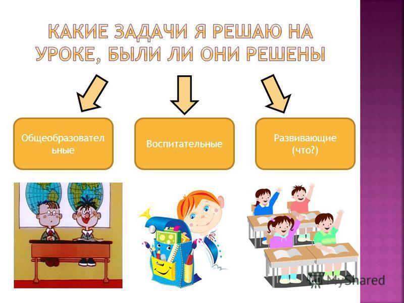 Общеобразовател ьные Воспитательные Развивающие (что?)