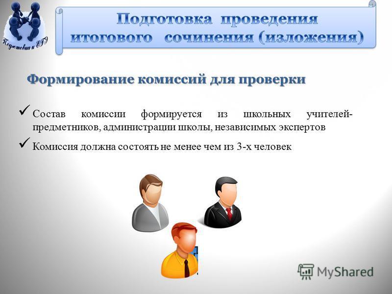 Формирование комиссий для проверки Состав комиссии формируется из школьных учителей- предметников, администрации школы, независимых экспертов Комиссия должна состоять не менее чем из 3-х человек