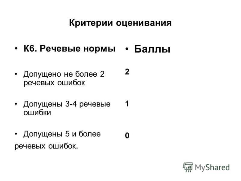 Критерии оценивания К6. Речевые нормы Допущено не более 2 речевых ошибок Допущены 3-4 речевые ошибки Допущены 5 и более речевых ошибок. Баллы 2 1 0