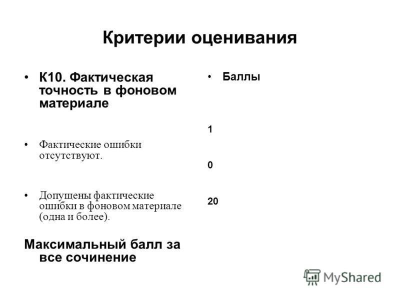 Критерии оценивания К10. Фактическая точность в фоновом материале Фактические ошибки отсутствуют. Допущены фактические ошибки в фоновом материале (одна и более). Максимальный балл за все сочинение Баллы 1 0 20