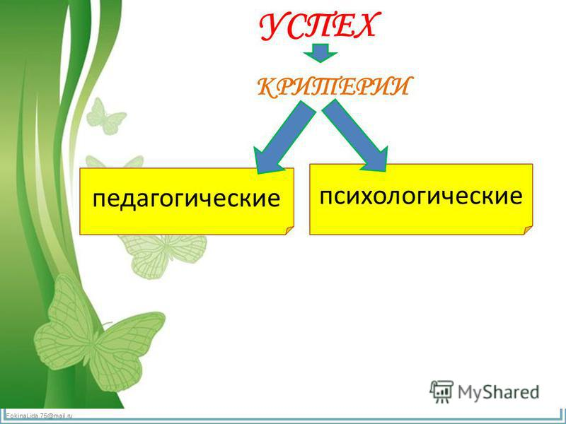 FokinaLida.75@mail.ru УСПЕХ КРИТЕРИИ педагогические психологические