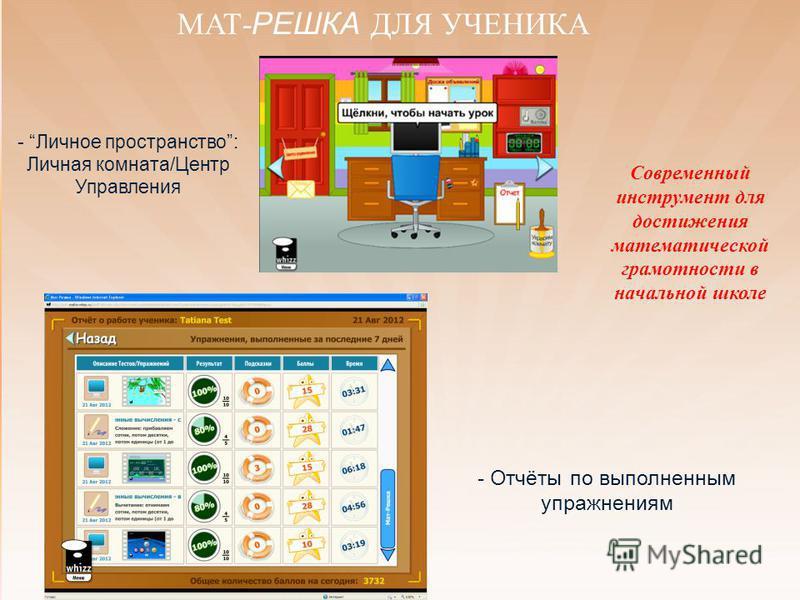 - Личное пространство: Личная комната/Центр Управления - Отчёты по выполненным упражнениям Современный инструмент для достижения математической грамотности в начальной школе
