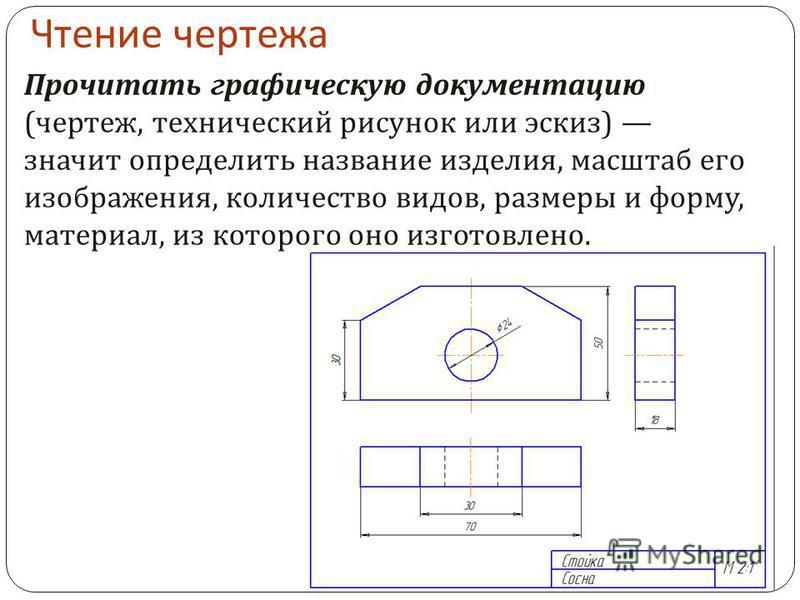 Чтение чертежа Прочитать графическую документацию ( чертеж, технический рисунок или эскиз ) значит определить название изделия, масштаб его изображения, количество видов, размеры и форму, материал, из которого оно изготовлено.