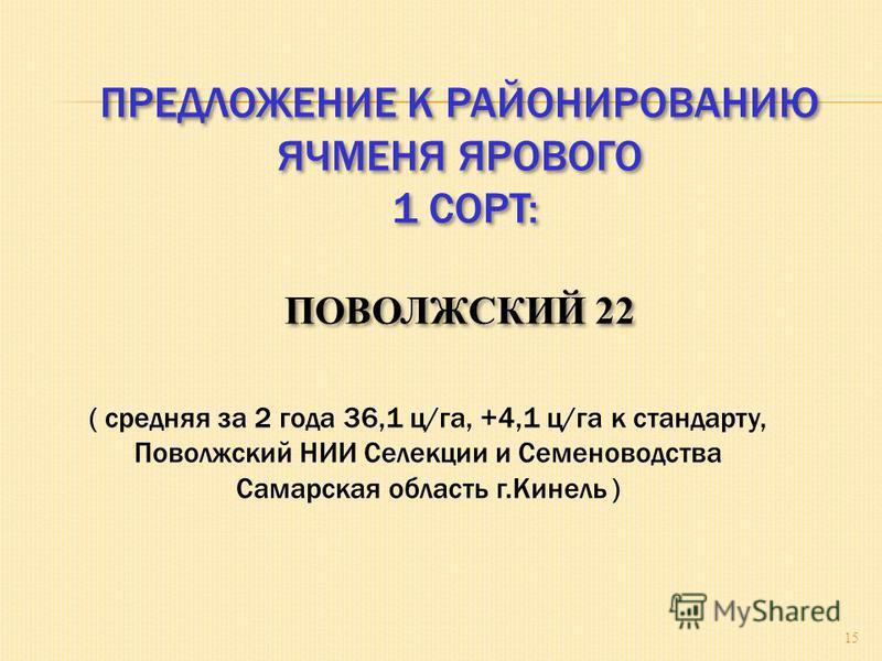 ПРЕДЛОЖЕНИЕ К РАЙОНИРОВАНИЮ ЯЧМЕНЯ ЯРОВОГО 1 СОРТ: ПОВОЛЖСКИЙ 22 ПРЕДЛОЖЕНИЕ К РАЙОНИРОВАНИЮ ЯЧМЕНЯ ЯРОВОГО 1 СОРТ: ПОВОЛЖСКИЙ 22 15 ( средняя за 2 года 36,1 ц/га, +4,1 ц/га к стандарту, Поволжский НИИ Селекции и Семеноводства Самарская область г.Кин