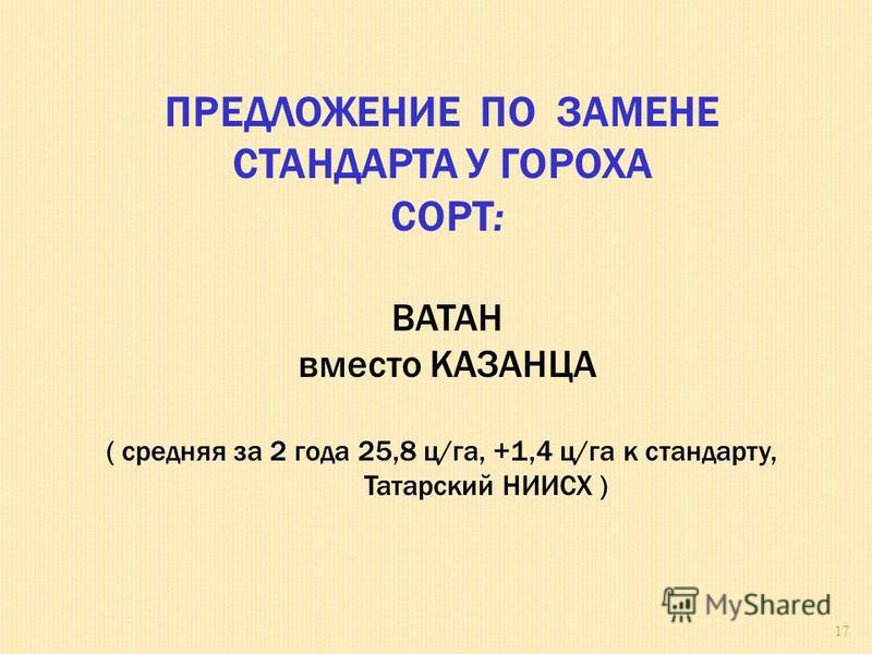 ПРЕДЛОЖЕНИЕ ПО ЗАМЕНЕ СТАНДАРТА У ГОРОХА СОРТ: ВАТАН вместо КАЗАНЦА ( средняя за 2 года 25,8 ц/га, +1,4 ц/га к стандарту, Татарский НИИСХ ) 17