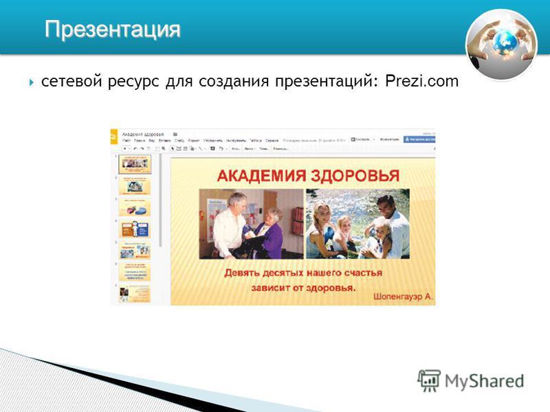сетевой ресурс для создания презентаций: Prezi.com Презентация