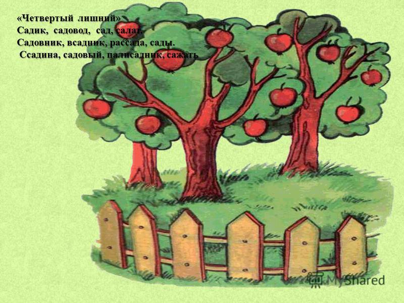 «Четвертый лишний» Садик, садовод, сад, салат. Садовник, всадник, рассада, сады. Ссадина, садовый, палисадник, сажать