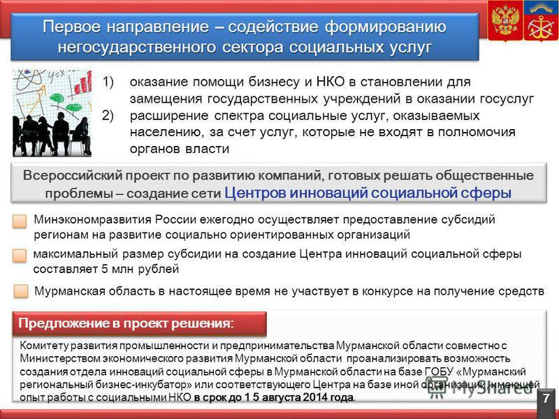 Первое направление – содействие формированию негосударственного сектора социальных услуг Всероссийский проект по развитию компаний, готовых решать общественные проблемы – создание сети Центров инноваций социальной сферы 7 1)оказание помощи бизнесу и